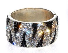 Black and White Striped Crystal hinged cuff Bracelet  #Unbranded #Cuff
