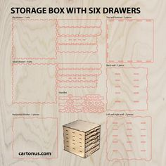 Storage box with drawers project plan ready for laser cutting