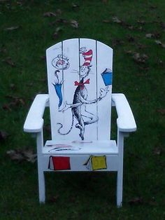 Decoupage Dr Seuss Childrens Chair Olivia Grace Nolan Collection by inkybinkyproductions on Etsy