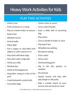 50 Heavy Work Activities for Kids {Free Printable} Heavy work play time ideas for kids - great suggestions for kids with autism and/or sensory processing disorder from And Next Comes L Proprioceptive Activities, Gross Motor Activities, Work Activities, Gross Motor Skills, Sensory Activities, Therapy Activities, Sensory Play, Proprioceptive Input, Autism Activities