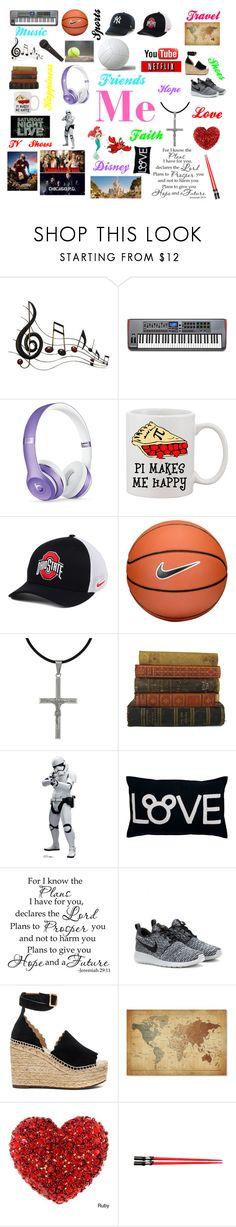 """""""Me"""" by mad-fred ❤ liked on Polyvore featuring Music Notes, Beats by Dr. Dre, NIKE, Carolina Glamour Collection, Disney, Sebastian Professional, Chloé and Trademark Fine Art"""