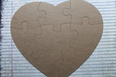 Extra Large 8 Piece Heart Shaped Jigsaw Puzzle Bare Unfinished Chipboard Diecuts 9 X Inches Approx