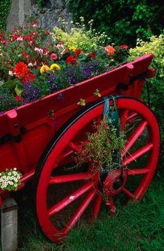 I love the red wheelbarrow. Old wheelbarrow planters! Dream Garden, Garden Art, Garden Tools, Garden Design, Garden Whimsy, Landscape Design, Beautiful World, Beautiful Gardens, Love Flowers