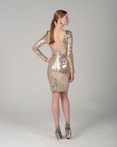 Sequin Low Back Cocktail Dress by Badgley and Mischka