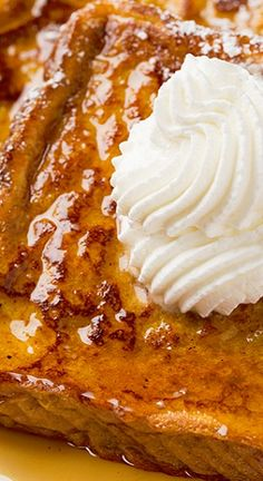 Pumpkin French Toast. Tastes like Fall. Worthy of repeating often! We like to use the Tuscan Pane from Trader Joe's for this, as it is already on the dry side, and makes ideal French Toast.