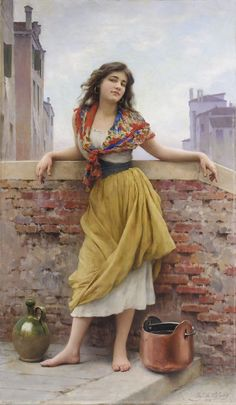 The Water Carrier 1908 by Eugene de Blaas, also known as Eugene von Blaas or Eugenio de Blaas (1843 – 1932) was an Italian painter in the school of Academic Classicism. He was born at Albano, near Rome, to Austrian parents.