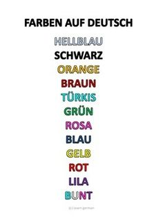 list of german colours - poster