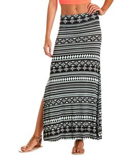 Double Side Slit Tribal Maxi Skirt: Charlotte Russe