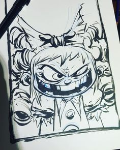 Skottie Young: I Hate Fairyland (Gertrude) Pen Illustration, Ink Illustrations, Comic Book Artists, Comic Artist, Disney Drawings, Cartoon Drawings, Tim Burton Style, Graffiti Characters, Black And White Sketches