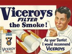 """Viceroys Filter Smoke! 'As your dentist, I would recommend Viceroys,'"" 1936"
