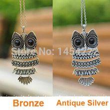 2015 nouveau mode en corée Adorn Article Owl Vintage collier pendentifs, Antique le hibou chandail de la chaîne bijoux livraison gratuite(China (Mainland))