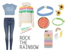 """Rainbow Puffers"" by annathepoptart ❤ liked on Polyvore featuring Perfect Moment, 7 For All Mankind, Summer and Silver, Chrysalis, Milani, Red Camel, Casetify, rainbow and puffers"
