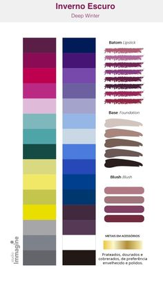 Paleta Deep Winter, Deep Winter Palette, Deep Winter Colors, Deep Autumn, Clear Winter, Dark Winter, Basic Eye Makeup, Skin Color Palette, Winter Typ