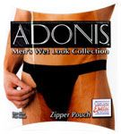Adonis Men's Wet Look Zipper Pouch Description:     Convenient side zipper   90% Poyester/10% Spandex   One size fits most    Only $11.04 at ExcaliburFilms.com