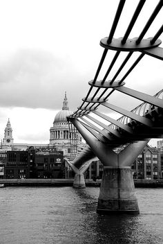 Walking the Millennium Bridge from the Tate Modern to St. Paul's Cathedral.  Katherine's old 'hood.