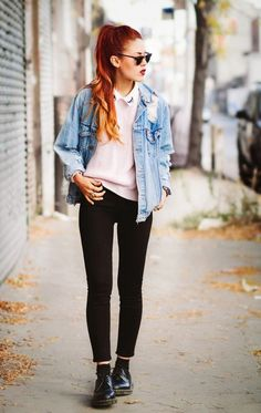 how to wear doc martens with denim jacket outfit ideas