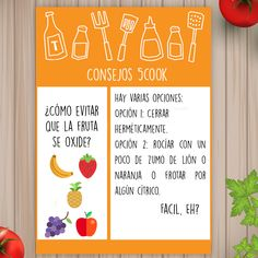 ¿Cuántas veces te has llevado un tupper con fruta y se te ha oxidado? Hoy traemos el truco para evitar que la fruta se oxide.    La vitamina C es un gran antioxidante por lo que necesitamos un limón o una naranja.   #trucos #cocina #5ingredientes #5Cook