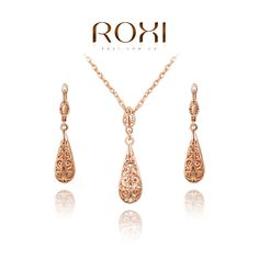 ROXI Christmas gift classical crystal set,Gift to girlfriend 100% hand made,fashion jewelry earrings+necklace,2070019625S