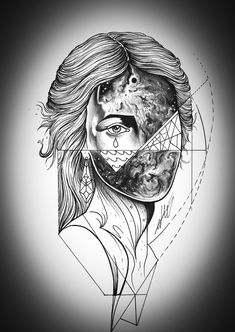 split portrait drawing by by nick broslavski