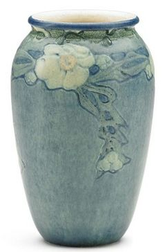 pottery & porcelain, Louisiana, A Newcomb College Pottery, Sadie Irvine tansitional vase with magnolia blossoms, New Orleans, Louisana, 1907...