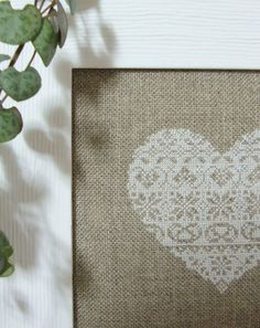 Vintage Lace Heart Cross Stitch framed