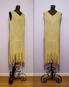 Yellow Silk Beaded Flapper Dress