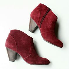 """Burgundy Suede Ankle Boots Burgundy suede ankle boots, the """"Josseline"""" by Aldo in size 37.5 (coverts to size 7 on Aldo's sizing chart). Genuine suede upper, 3"""" block heel, inner zipper, round toe, rubber sole. Only worn a few times, some minor scuffing to suede but otherwise in very nice preowned condition. ALDO Shoes Ankle Boots & Booties"""