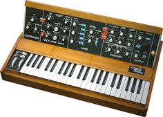 A minimoog synth.THE analogue mono synth of all time. With its 3 oscillators, it could produce 'Bass' to 'Lead' to 'Delicate' to 'X-Mod' sounds due to its filters and modulation options. Used by Gary Numan, Kraftwerk, Ultravox, Tangerine Dream, Nine Inch Nails, Depeche Mode, The Chemical Brothers and Apollo 440 to name a few.