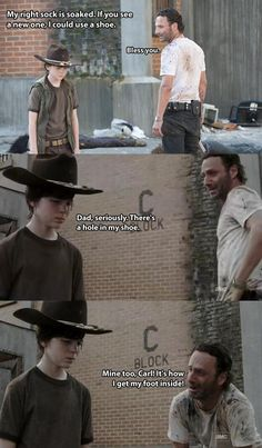Bad dad jokes 2 #TheWalkingDead pic.twitter.com/wLUOFDpuUS   I can't help but laugh