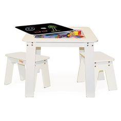 P'kolino Chalk Table and Stools - White