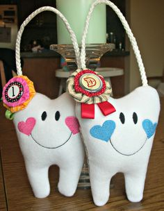2 Personalized Tooth Fairy Pillows for a girls by SANDRAINSTITCHES, $31.90