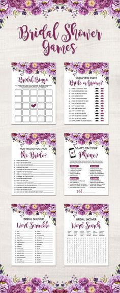 Six super fun Bridal Shower Games. The games can be quickly printed at home for a floral DIY Wedding Shower. The purple design looks great for a boho rustic themed Hen's Night or garden Bachelorette Party. This printable games package contains 6 games like: Bridal Bingo, Bride or Groom, How Well Do You Know the Bride, What's on your Phone, Word Scramble and Word Search.