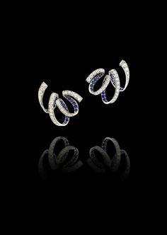 "ALEXANDRE REZA ""Ruban"" Earrings featuring round sapphires and brilliant diamonds (=)"