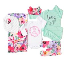 Ultimate baby girl Newborn going home outfit bundle (Emilia Floral) - Gigi and Max Newborn Coming Home Outfit, Going Home Outfit, Mint Gown, Gigi And Max, Baby On The Way, Baby Kids Clothes, Baby Girl Newborn, Toddler Outfits, Cute Babies