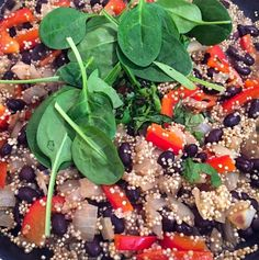 Quinoa with Black beans, peppers and cilantro