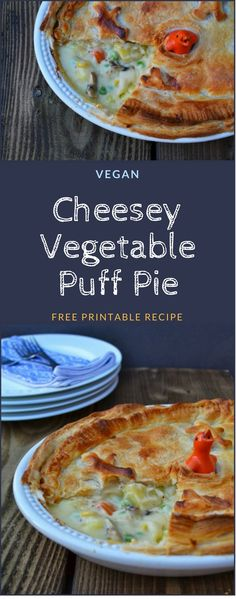 A gloriously golden puff pastry pie filled with a selection of vegetables in a rich cheese sauce. The perfect family or party meal. Vegetarian or vegan depending on which cheese sauce you choose. A real family favourite. #pie #puffpie #vegetablepie #vegan #veganpie #veggiepie #vegetarianpie #vegetarian #veggie #vegetables #sundaydinner #pastry #pastryrecipes #puffpastry #puffpastryrecipes