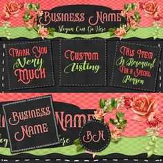 Etsy Shop Set, Header,  Etsy Header, Etsy Banner,  Avatars, Digital Set, Pink Rose Topper, Blackboard Header by PremadeLogoShop on Etsy