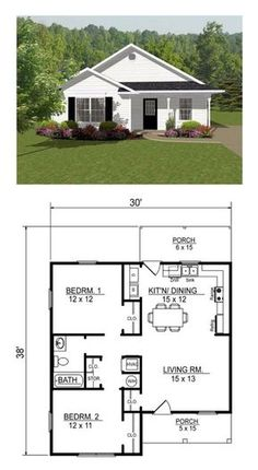Open concept, two bedroom small house plan. [Other examples at this link] Open concept, two bedroom small house plan. [Other examples at this link] Image. Little House Plans, Small House Floor Plans, Open Concept House Plans, Square House Plans, Small Modern House Plans, Small House Design, Modern House Design, Small House Layout, House Design Plans