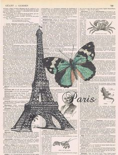 French - Butterfly with (Paris) Eiffel tower Altered book page dictionary.
