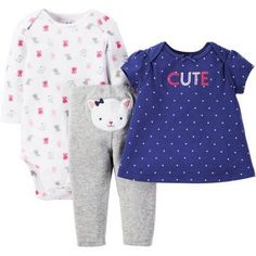 Child of Mine by Carter's Newborn Baby Girl T Shirt, Bodysuit and Pant Outfit Set 3 Pieces - Walmart.com