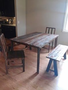 Custom Wood Rustic Dining Table W Bench Seating