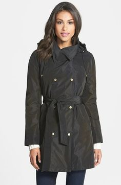 Ellen Tracy Packable Belted Iridescent Raincoat. A shimmery raincoat, lightweight style.