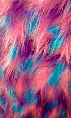 "Fabric Faux Fur Fake Long Pile 60"" 3 Tone Shaggy long hair Fuchsia Blue purple"