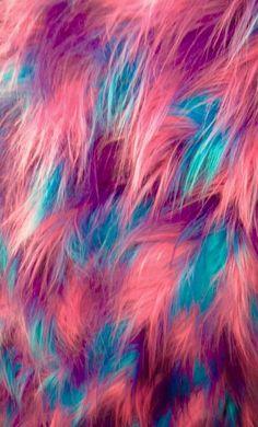 """Fabric Faux Fur Fake Long Pile 60"""" 3 Tone Shaggy long hair Fuchsia Blue purple"""