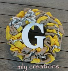 initial wreath, chevron wreath, burlap wreath, home decor,gift for mom, personalized gift,yellow wreath, mothers day, custom wreath, chevron by BailaDesignsCo on Etsy https://www.etsy.com/listing/270262761/initial-wreath-chevron-wreath-burlap