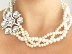 Bridal Jewelry Twisted Pearl Necklace Wedding Jewelry by zafirenia