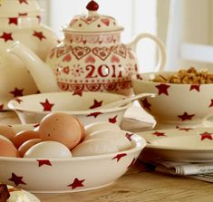 Emma Bridgewater red stars and the 2011 collector's club teapot. Sponge ware