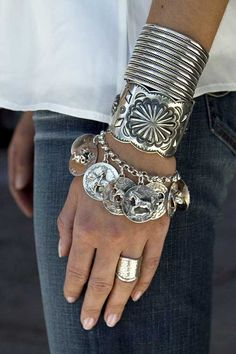 Summer silver layered cuff bracelets and charm bracelet