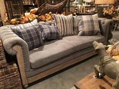 Plaid Couch, Plaid Throw Pillows, Living Room And Dining Room Design, Living Area, Chesterfield Couch, Country Sofas, Parker House, Hanging Tent, French Farmhouse