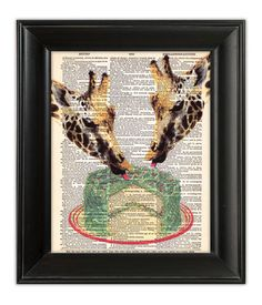 GIRAFFES Eating Birthday CAKE Print ORIGINAL Art Hand Painted Mixed Media Illustration on Antique 1930s Dictionary Book Page 8x10